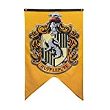 CH1 Yellow White Hufflepuff House Banner, Gold Red Harry Potter Flag Hogwarts Badger Fantasy Wizard College Party Home Decor Book Novelty Movie, Polyester