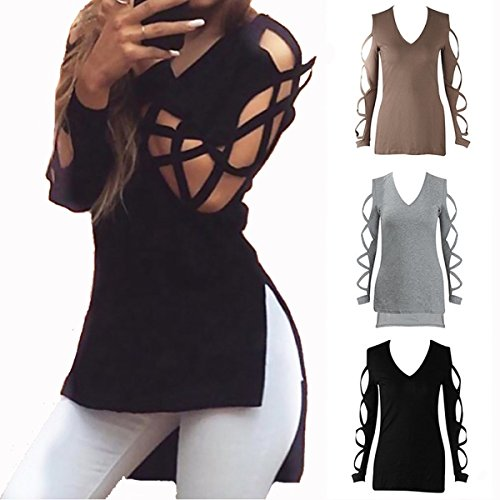 ZG&DD Women Tee Shirt Neartime Casual Club Tops Sexy Shirts Hollow Sleeve Blouse (X-Large, Black)