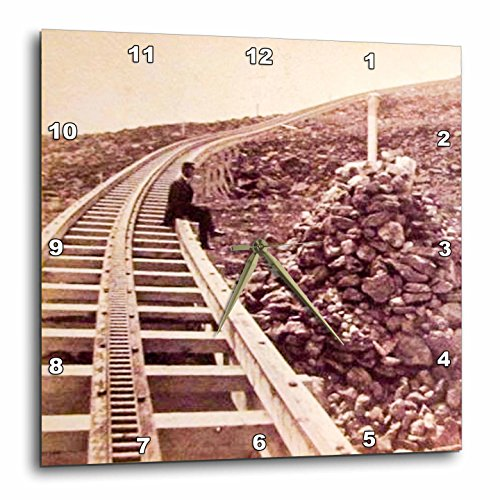 3dRose Scenes from the Past Vintage Stereoview Cards - Mount Washington Railroad Concord New Hampshire Train Tracks 1880 - 15x15 Wall Clock - Hampshire Outlets New Concord