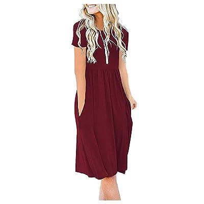 Women Summer Short Sleeve Casual Print Tunic Top Loose Pocket Dress: Clothing