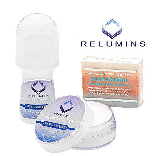 Relumins Advance White Complete Intimate Set- Whitening Soap, Deodorant Roll-On & Whitening Inti