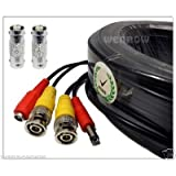 Black, 200ft Wennow All-in-one Pre-made BNC Video and Power Extension BNC Male to Male Cable with 2 Free BNC Coupler Connectors for CCTV Surveillance Camera (Black, 200ft)