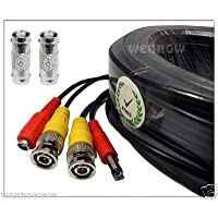 Black, 130ft Wennow All-in-one Pre-made BNC Video and Power Extension BNC Male to Male Cable with 2 Free BNC Coupler Connectors for CCTV Surveillance Camera (Black, 130ft)