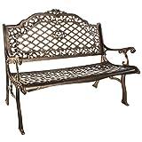Oakland Living Mississippi Cast Aluminum High Back Bench, Antique Bronze
