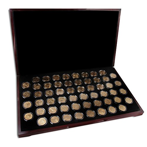 1999-2009 State Quarters Gold Plated 56 Coin Set Encapsulated with Wooden Presentation Box by