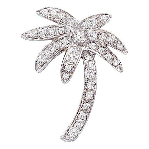 d Diamond Palm Tree Nautical Beach Pendant 0.23 Cttw ()