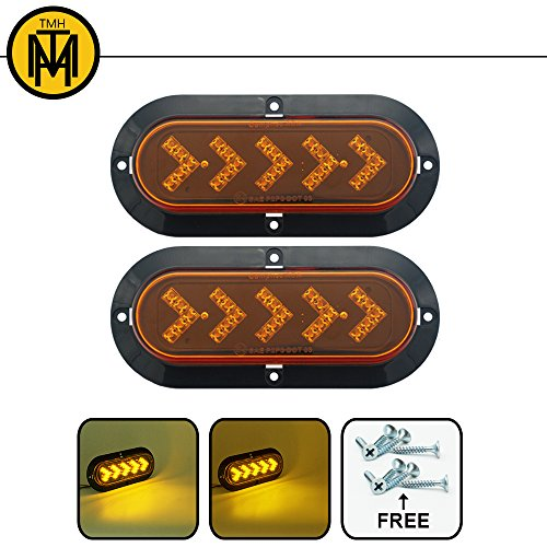 TMH ( Pack of 2 ) 6 25 ARROW LED Surface Mount Oval Amber Turn Signal Side Marker Tail Light Indicator Assembly for Truck Trailer Trail Bus 12V DC