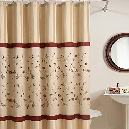 "DS BATH Veronica Floral Shower Curtain,Mildew Resistant Polyester Fabric Shower Curtain,Stripe Shower Curtains for Bathroom,Print Bathroom Curtains,Flower Waterproof Shower Curtain,78"" W x 78"" H from DS BATH"