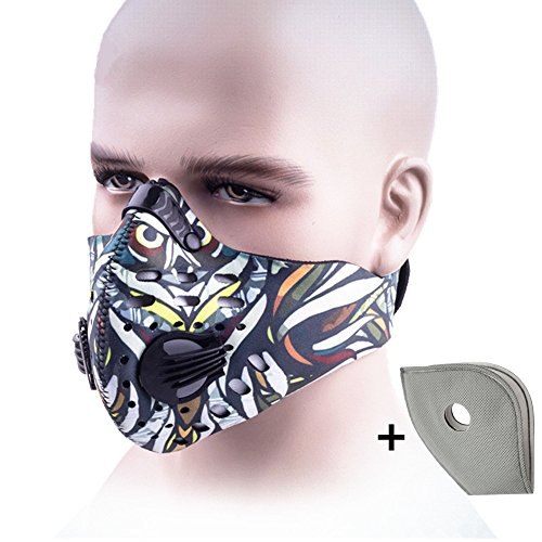 Ligart Activated Carbon Dustproof Mask Face Mask Filtration Exhaust Gas Anti Pollen Allergy PM2.5 Dust Mask Filter for Running Cycling and Other Outdoor (Activated Aqua Carbon)