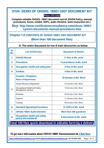 amazon com ohsas 18001 documentation kit everything else rh amazon com ISO 18001 PDF ISO 18001 PDF