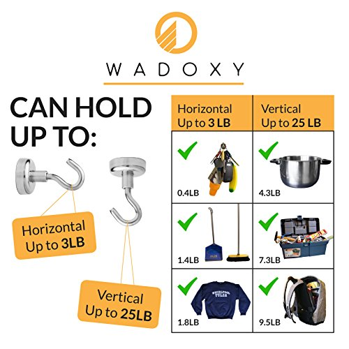 WADOXY Premium Magnetic Hooks, 6 Pack Including 2 Extra Magnetic Clips- Super Strong Heavy Duty Neodymium 25 LB Set With Stickers, Organization Magnets For Indoor/Outdoor Multi-Use Photo #2