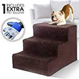 Pet Dog Stairs 3-Steps Ladder with Pet Glove Soft Step Cover Pet Bed Stairs for Dogs and Cats Up to 50 lbs