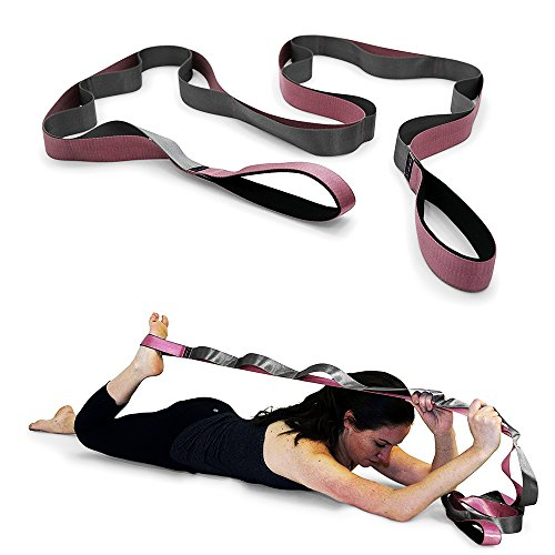 Wedges Dance (slim Yoga Strap For Stretching,Stretching Strap Guide,Premium Quality Multi-loop Strap,12 Loops,Physical Therapy Stretching Strap for Rehab,Stretching Out,Pilates,Dance,Gymnastics (Pink-Grey))