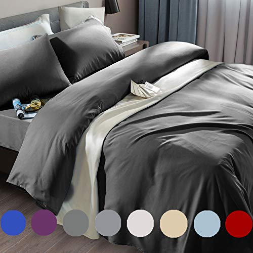 SONORO KATE Bed Sheet Set Super Soft Microfiber 1800 Thread Count Luxury Egyptian Sheets Fit 18 - 24 Inch Deep Pocket Mattress Wrinkle and Hypoallergenic-6 Piece (Dark Grey, Queen)