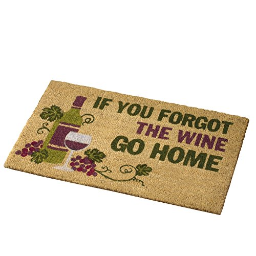 "Collections Etc Wine Lovers 30""x18"" Forgot The Wine Coco Door Mat, Brown"