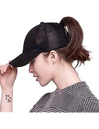 Women's High Ponytail Baseball Cap Messy Bun Distressed Trucker Visor Hat