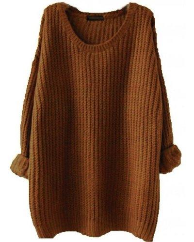 Minetom Mujer Otoño Invierno Moda Jerséis De Punto Suéter Tops Casual Pullover Manga Larga Prendas De Punto marrón