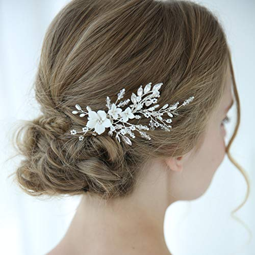 SWEETV Pearl Wedding Hair Clip Comb Barrette Flower Crystal Bridal Hair Accessories Silver Headpieces for Women Wedding (Bridal Hair Accessories For Half Up Half Down)