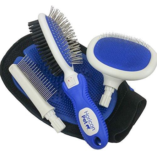 Dog Brushing Essentials Kit by Horicon Pet - Dog Brush Set - Pin & Bristle Brush, Slicker Brush, Spring Comb, 2 in 1 Dual Sided Grooming & Massaging Pet Hair Remover Mitt