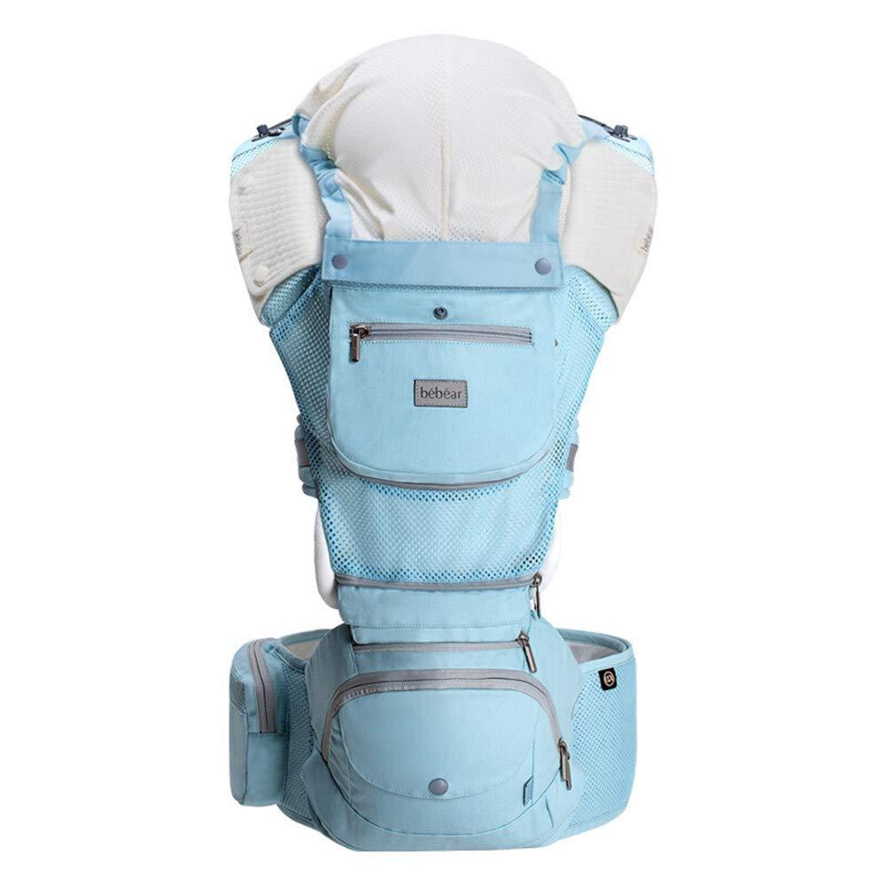 FIFY Babytrage Größe hocker tragetuch multifunktions Vier Jahreszeiten universal Sitz Baby Slings vorne Umarmungen halten Baby artefakt axt03 See blau (cool atmungsmodelle), C