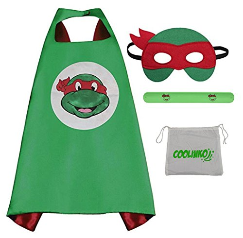 Superhero Cape, Mask and Slap Bracelet - Costume for Kids Birthday Party, Pretend Play, Dress up (Raphael)