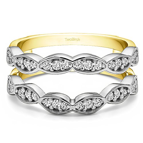 (0.3 ct. Cubic Zirconia Vintage Wedding Ring Guard Enhancer in Two Tone Sterling Silver (1/3 ct. twt.))