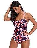 GRACE KARIN Women Halter Padded Bikini Backless One Piece Swimsuit Monokini Purple M