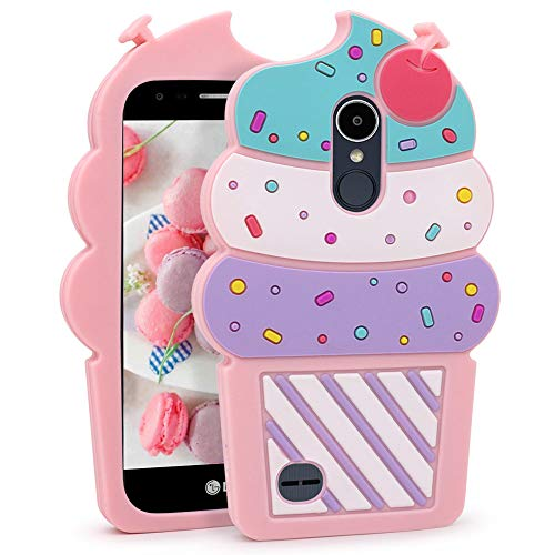 Cute LG Aristo Case, LG Fortune Case, LG Phoenix 3 Case, LG Risio 2 Case, LG Rebel 2 LTE Case, Funny 3D Cartoon Ice Cream Cupcakes Soft Silicone Shockproof Case Cover for for LG K8 2017 LV3 MS210 M210 ()
