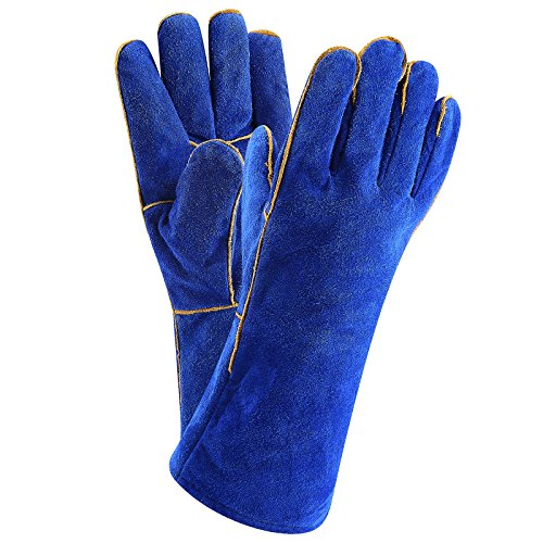 Glove Welder Tig Mig (DEKO Welding Gloves 14 inch Leather Forge Heat Resistant Welding Glove for Mig, Tig Welder, BBQ, Furnace, Camping, Stove, Fireplace and More (Blue))