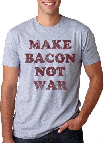 Peace Not War Vintage T-shirt (Make Bacon Not War T Shirt Funny Breakfast Pig Farm Political Activist Tee (Grey) L)