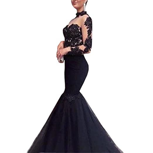 7ebb4cc1346 Dimei 2018 Sexy Mermaid Lace Prom Dresses Sheer Long Sleeves Evening Gowns  Long Mermaid Formal Prom