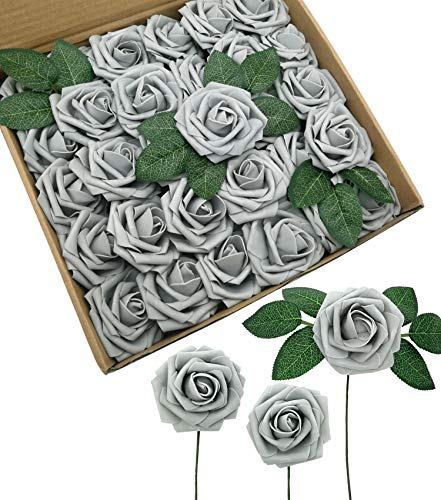 D-Seven Artificial Flowers Fake Roses Wedding Centerpieces Arrangements 30PCS Real Looking Roses with Stem for DIY Wedding Bridal Bouquets Baby Shower Party Home Office Hotel Decorations(Gray)