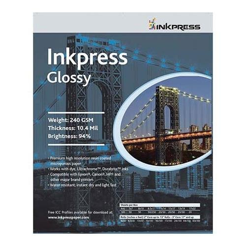Inkpress IPCUG1117250 Glossy Premium Single Sided Bright Resin Coated Photograde Inkjet Paper, 10.4mil., (Photograde Inkjet Paper)