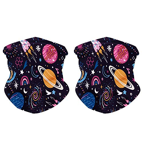Kids Youth Neck Gaiter Fishing Sun Mask - Junior UV Protection Face Tube Mask 2PCS (Space girls)