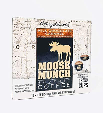 Harry & David Moose Munch Gourmet Coffee 18 Single Serve Cups Beverage Hot or cold (Milk Chocolate Caramel)