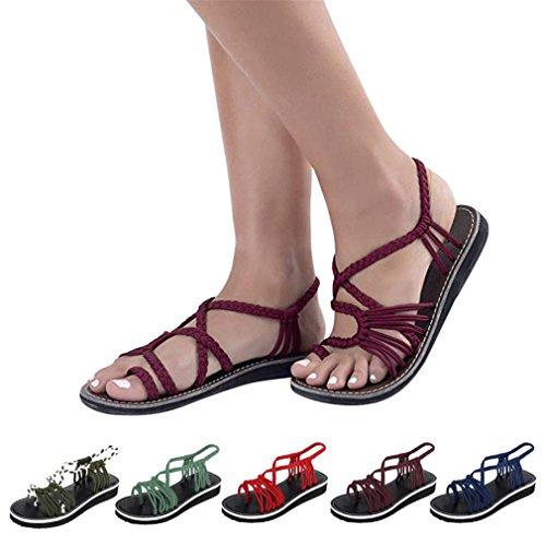 ELECTRI Chaussures à Talons Femme Sandales,Lady Sandales Chaussures de Plein Air Perlé Bouche de Poisson Pente Tongs Talons Hauts Bout Ouvert Été Pente Du Vin 1