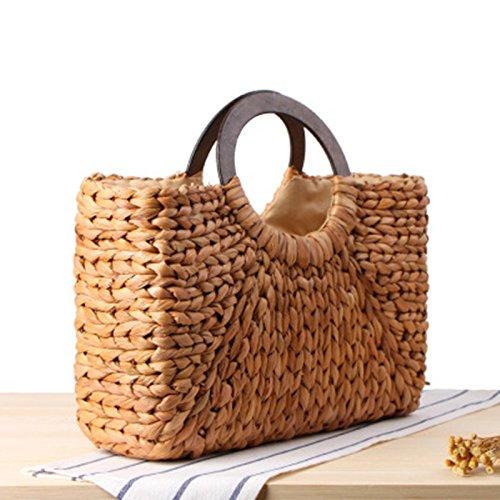 rattan donne spiaggia borsa borsa Boemia mano Onemoret Lady paglia vintage borsa estate Weave Simple Bags casual a femminile grande AEw0dqf
