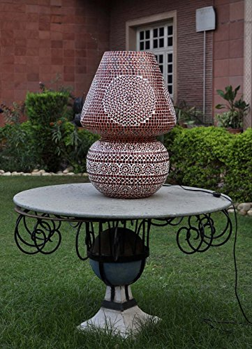 Lalhaveli Handcrafted Room Decorative Indian Glass Lamps Maroon Color