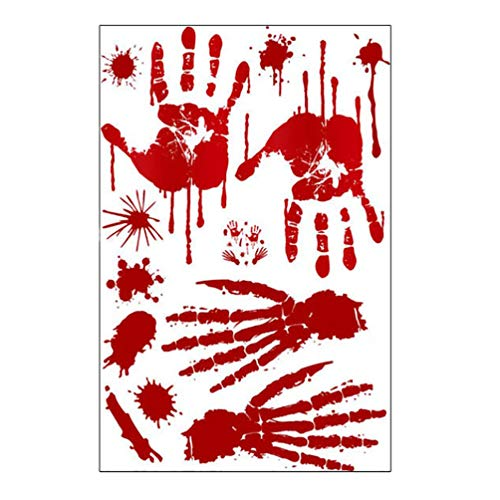 Hongma 2pcs Halloween Bloody Handprints Footprints Window Floor Clings Decals Bloody Skull Wall Stickers for Halloween Vampire Zombie Party Decoration Supplies ()