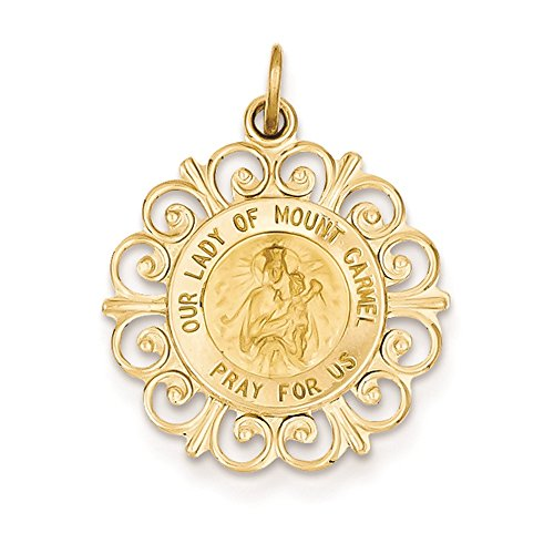 Mount Carmel Medallion (14K Yellow Gold Our Lady of Mount Carmel Medal Charm Pendant)