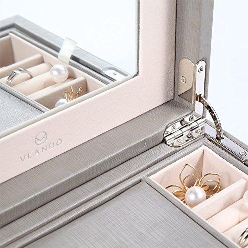 Vlando Wooden Jewelry Box, Jewelry Organizer and Storage- Grey by Vlando (Image #5)