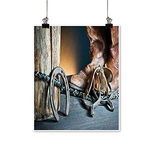 Canvas Wall Art Dated Metal Horseshoe Whip and Spurs Rustic Texas Lifestyle USA Culture Print Grey for Bathroom Home,32