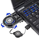 Marketworldcup Vacuum LED USB Cooler Air Extracting Cooling Pad Fan for Notebook Laptop PC