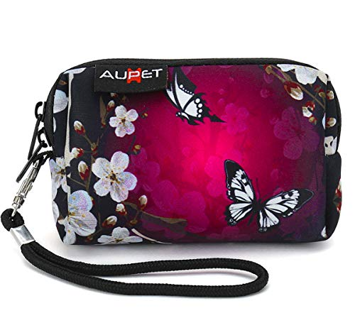 AUPET Digital Camera Case Bag Pouch Coin Purse with Strap for Sony Samsung Nikon Canon Kodak,Purple Butterfly Design