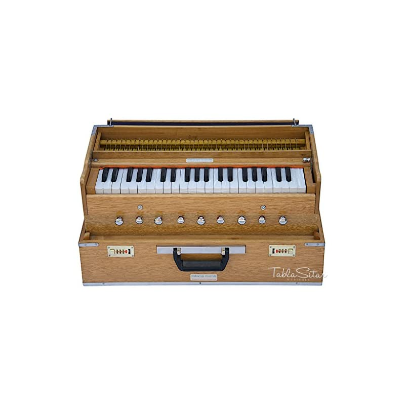 Harmonium by Maharaja Musicals, Folding, 9 Stops, In USA, Portable, Natural Color, 3 1/2 Octaves, Tuned to A440, Coupler, Book, Bag, Indian Musical Instrument (PDI-AHH)