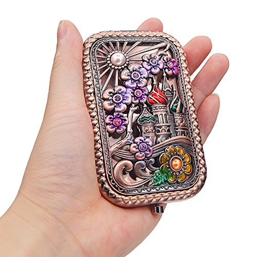 Ivenf Rose Golden Castle & Flower Square Vintage Compact Purse Mirror, Christmas Gift by Ivenf (Image #1)