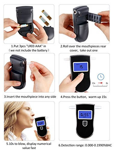Fannel Portable Breath Alcohol Tester, Professional Digital Breathalyzer LED Screen with 5 Mouthpieces for Home Use (Black) by Fannel (Image #3)