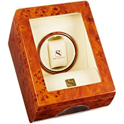 Steinhausen SM483GA Lifetime Wooden Executive Single Watch Winder and Display Case Burlwood Watch Case