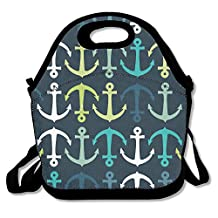 Green Blue White Anchors Lunch Bag Lunch Tote Lunch Box Handbag For Kids And Adults