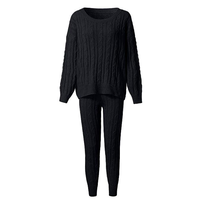 Women Sweater 2PC Mujeres Chica sólido de Cable de Hombro de Punto ...